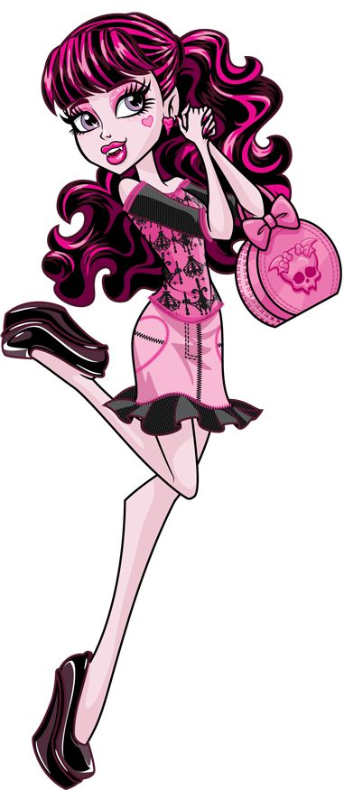Draculaura Scaris: City of Frights Monster High Illustration - Draculaura was one of the original Monster High characters and dolls introduced in 2010. She is a vampire, the adopted daughter of Count Dracula, and a student at Monster High. Having spent much of her childhood at the Vampire Court, Draculaura is used to being pampered.