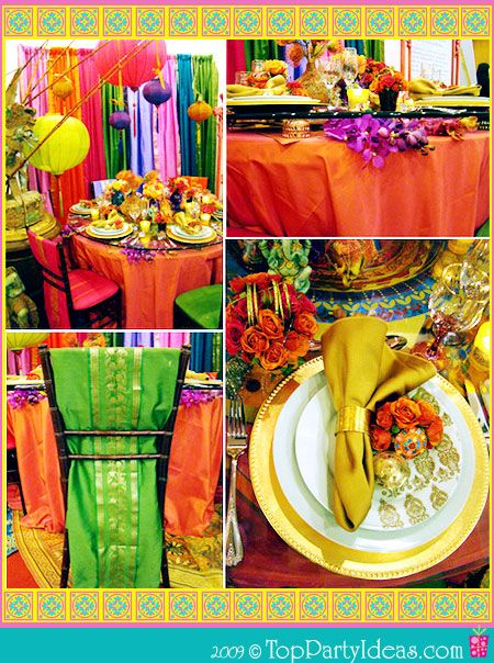 Vibrant Indian Theme Party - Party table, decor, place settings, napkins, table cloth