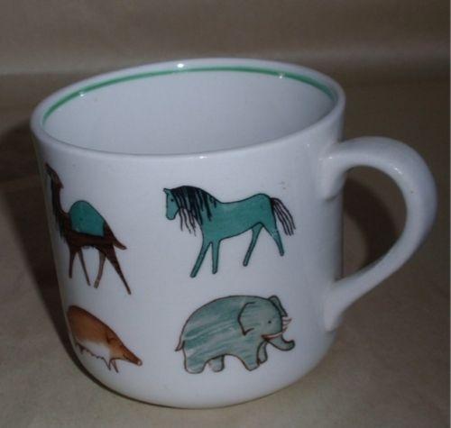 Vintage Arabia Finland child's animal mug. A teal green horse...