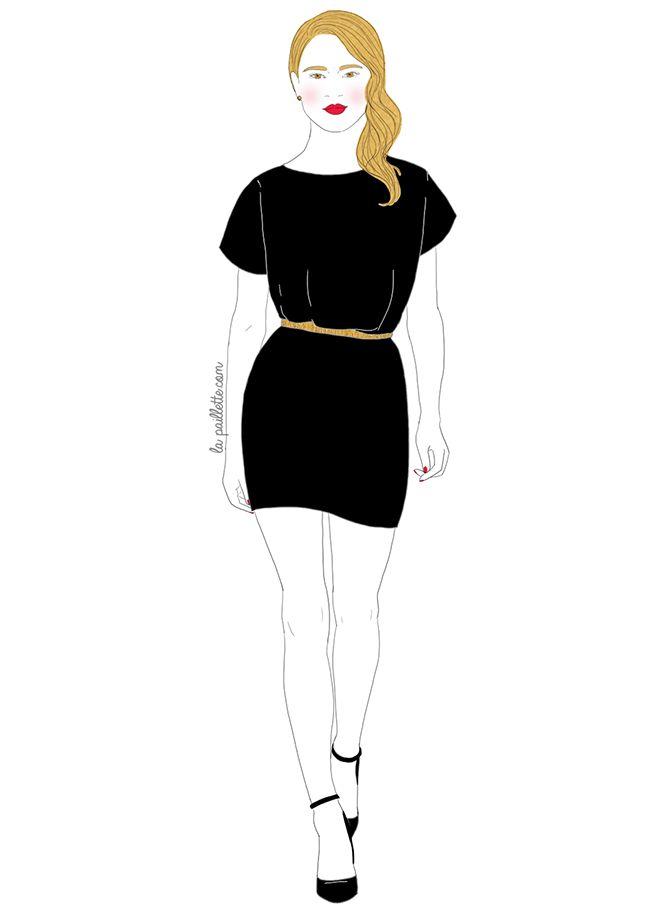 Fashion week mode la petite robe noire noir doré élégant illustration dessin drawing