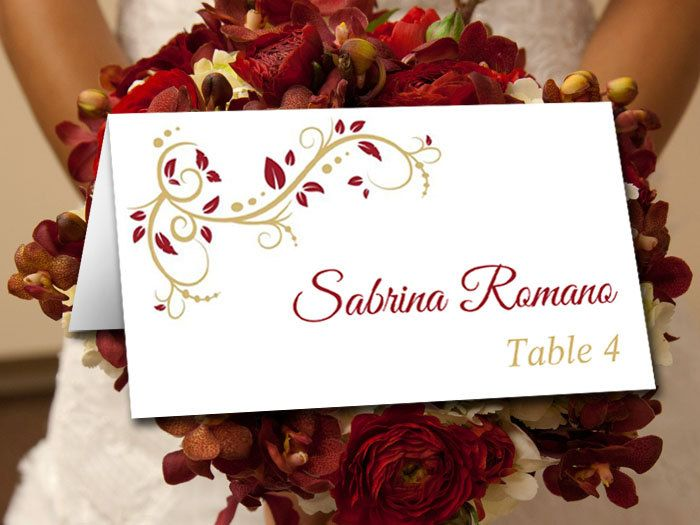 Wedding place card template burgundy gold wedding escort Places to have a fall wedding