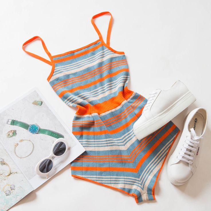 Stripe Knit Romper - Bold Stripe