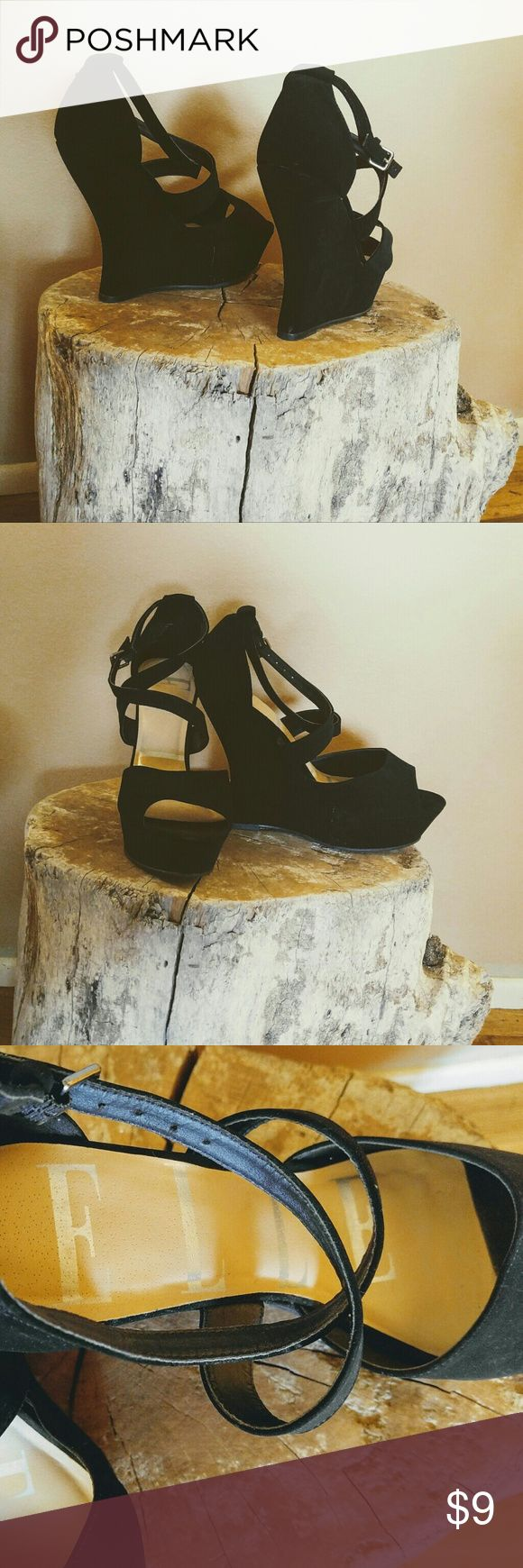 """ELLE Heels Black. Front 1"""". Heel 5"""". Ankle straps. Barely worn. Size 9. These make every outfit look amazing. Elle Shoes"""