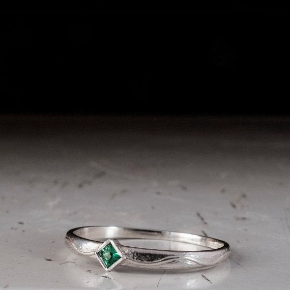 Dainty Sterling Silver Emerald Ring