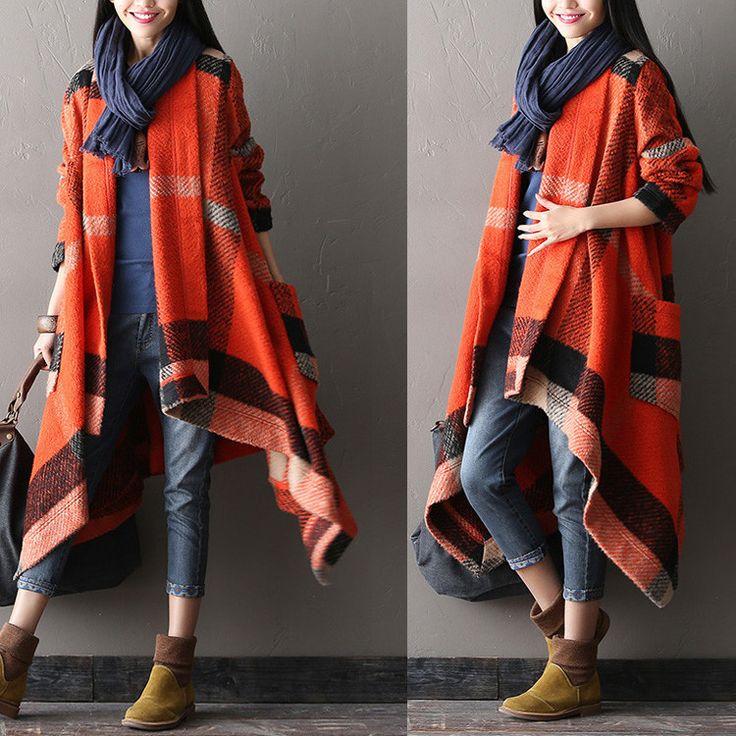 Women winter woolen long sleeve red coat - Buykud - 1