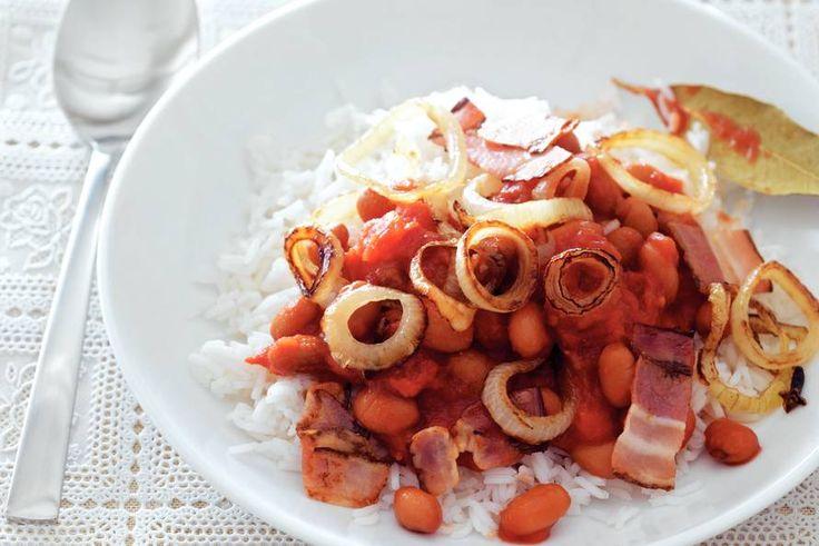 Kijk wat een lekker recept ik heb gevonden op Allerhande! Bruine bonen met rijst