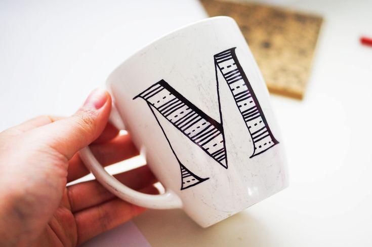 diy monogram mugs | eat your teacup