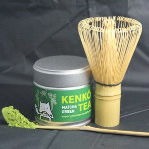 Matcha Tea Set from Kenko Tea. Bamboo Whisk, Bamboo Scoop and Premium Grade Matcha