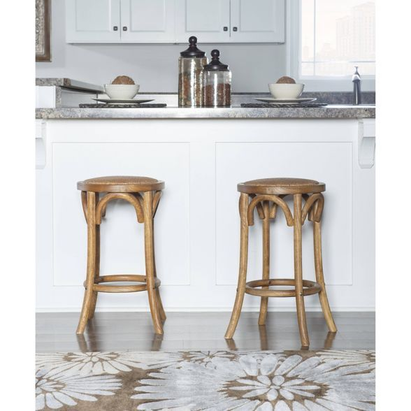 Rae Rattan Seat Backless Counter Height Barstool Walnut Linon In 2021 Counter Stools Backless Counter Stools Bar Stools