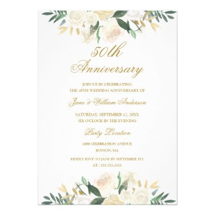 The 25 best wedding anniversary invitations ideas on pinterest gold floral botanical 50th wedding anniversary card gold floral botanical 50th wedding anniversary card invitations custom unique diy solutioingenieria Gallery