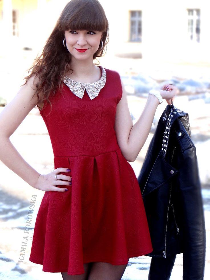 http://blogmanekineko.blogspot.com/2015/02/czerwona-sukienka-red-dress.html czerwona sukienka z kołnierzem