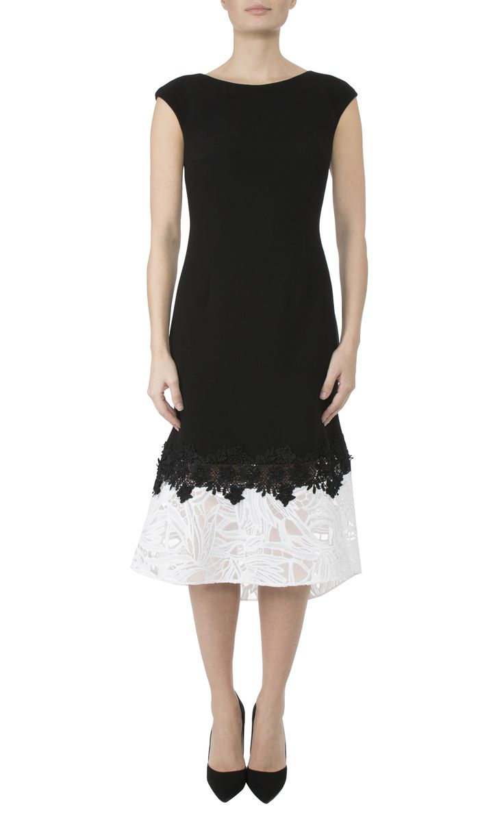 Occasion Wear   Black & White Crepe Dress