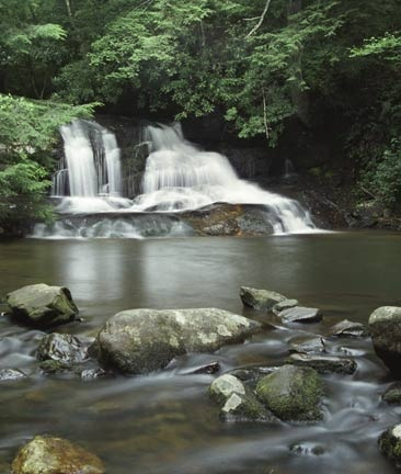 Hemlock Falls is in the Chattahoochee Nation Forest near Moccasin Creek State Park on Lake Burton.