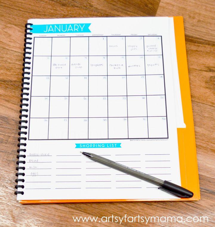 Free Printable Monthly Menu Planner at artsyfartsymama.com #freeprintable #menuplanner