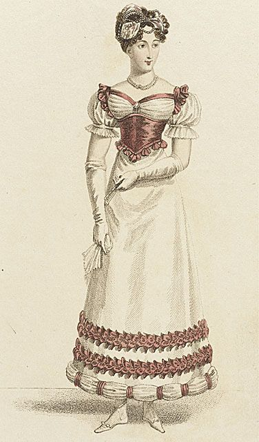 La Belle Assemblee, Parisian Ball Dress, February 1821.  This bodice is a little weird for my tastes, but I do like the trim on the skirts- and her sleeves!