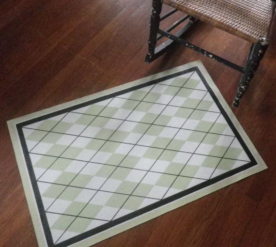 Hand Painted Canvas Floor Cloth Mat Argyle Diamonds In