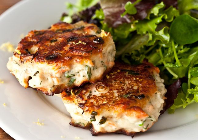 // salmon cakes with lemon, dill, and homemade dijon mayonnaise