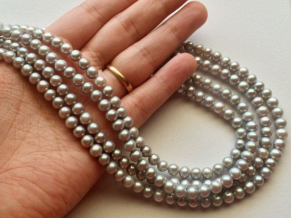Pearls  Grey Pearls Natural Fresh Water Round by gemsforjewels