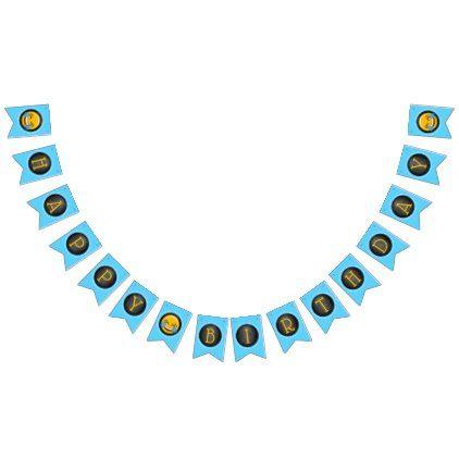 #Cute Emoji Birthday Party Bunting Flags - #emoji #emojis #smiley #smilies