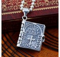 "Men's Sterling Silver Cross Holly Bible Pendant Necklace with Sterling Silver Bead Chain 18""-22"""