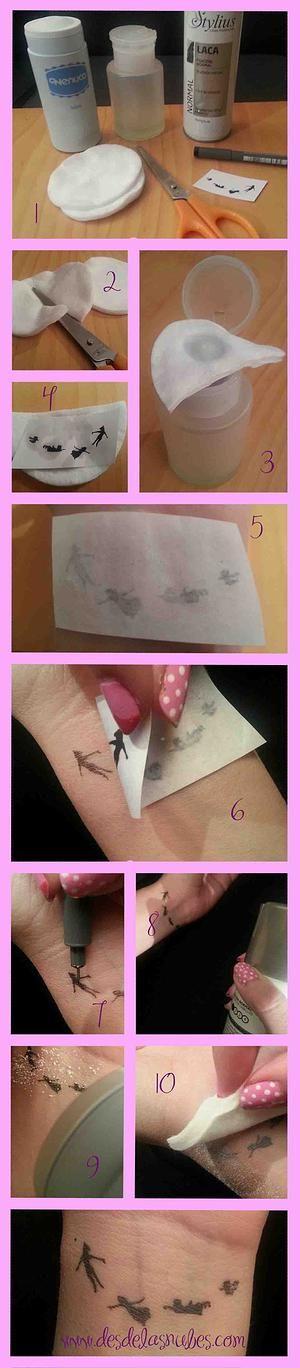Desde las Nubes Diseño organización Eventos   BLOG www.desdelasnubes.com Tutorial de tatuajes temporales, temporary tattoo