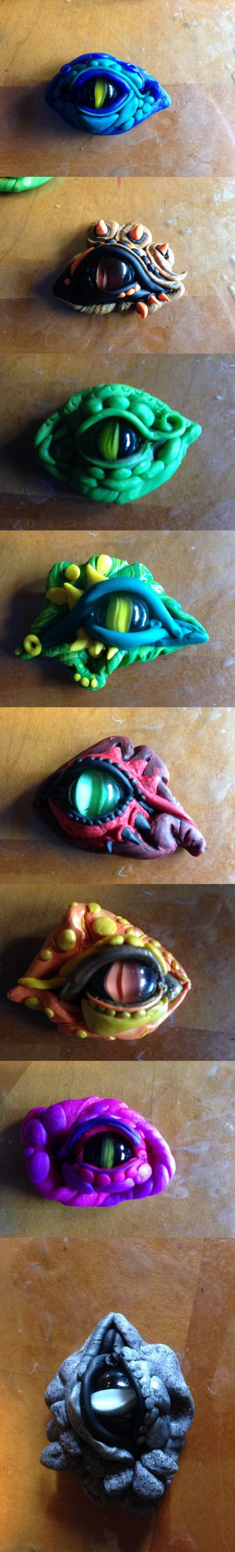 Dragon's eyes made out of clay and marbles. Could be used as eye treatment effect