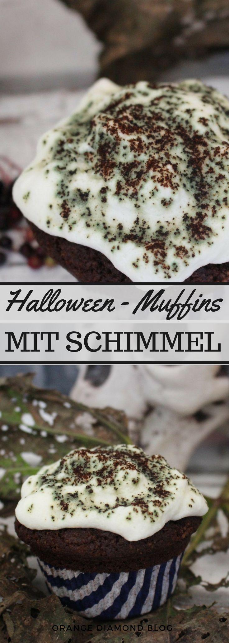 Halloween Muffins mit Schimmel! Schnelle Schokolaen Muffins für das Grusel-Buffet zu Halloween. Buffett Ideen zur Halloween-Party gehören auch die richtigen Halloween-Gerichte.