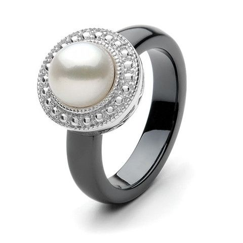 Ikecho : 9ct White Gold White 7.5mm button Freshwater Pearl black cera - For the Love of Gold