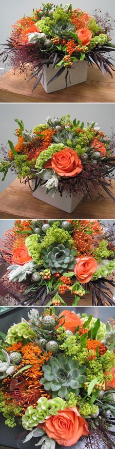 Naranja roses, lamps ear, silver cone leucadendron, smoke bush, pincushion proteas, succulents, ladie's mantle, asclepias, green cockscomb, and chocolate eucalyptus. Such a unique combination!