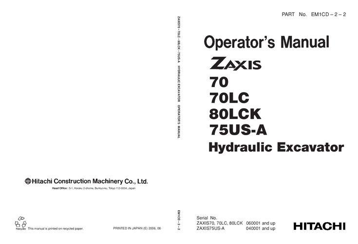 Hitachi Zx70 75 80 Lck Us Excavator Operation And