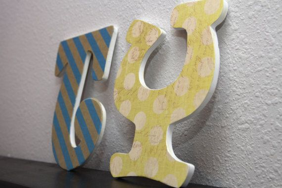 Nursery wall letters kids room name letters by SeacatCreations