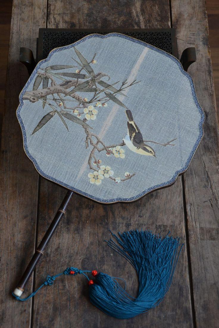 小角杂货铺 紫竹花型框 缂丝团扇 竹梅山鸟图-淘宝网