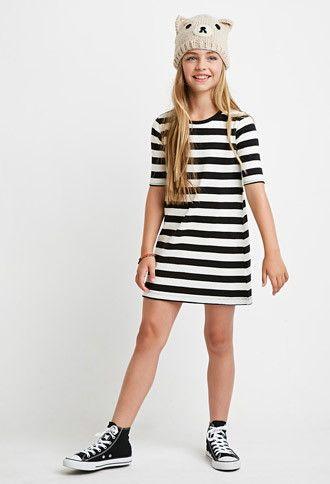 Girls Striped T-Shirt Dress (Kids)   Forever 21 girls - 2000172296