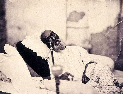 Bahadur Shah Zafar, the last Mughal Emperor, in 1858 after his trial for his role in the 1857 Indian Rebellion against the British. He was exiled to Burma. At this point in history the title of Mughal Emperor was mostly symbolic. His political power didn't extend beyond the city of Delhi.