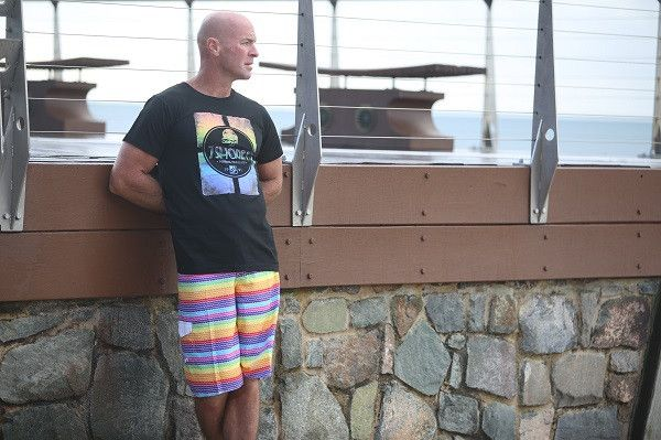 Life's too short to wear boring boardies! Ice Cream long length boardies by 69 Slam & black T by 7Shores.