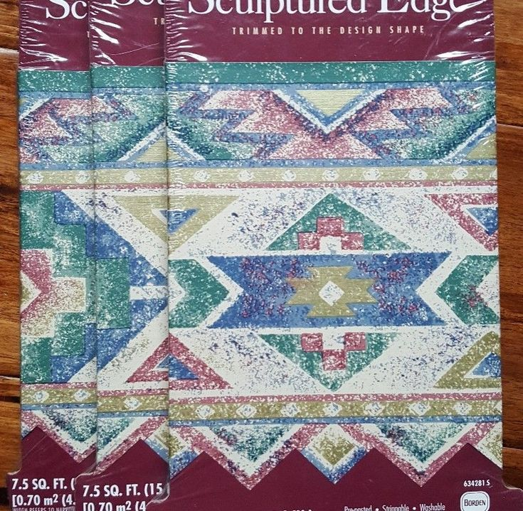 3 Rolls Vintage 90s Southwestern Wallpaper Border Aztec Prepaste Sculptured Edge | eBay