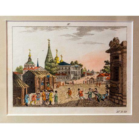 Alkuperäinen käsinväritetty kuparipiirros 1700-luvulta. Näkymä Moskovasta.