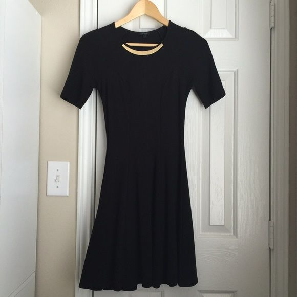 "River Island Black Dress (UK 6) Dress length: 33"". Attached gold metal statement necklace. 67% Viscose, 28% polyester, 5% Elastane. Excellent condition. Fits size 0-2 River Island Dresses"