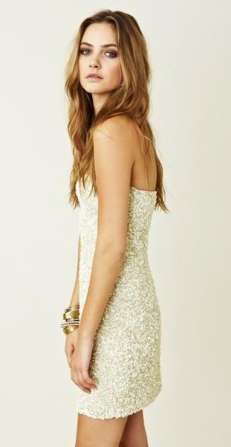 simple strapless w/a little sparkle- pretty