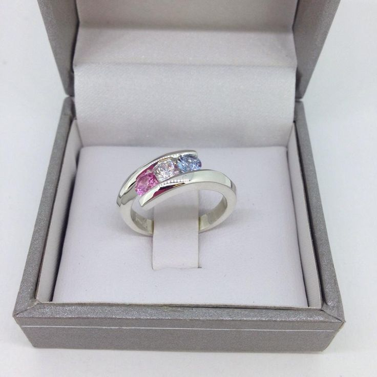 3 stone family ring in Sterling Silver  #familyring #bypassring