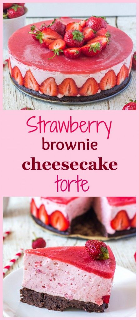 Strawberry brownie cheesecake torte -  light summer strawberry torte with brownie batter, strawberry cheesecake filling and strawberry icing