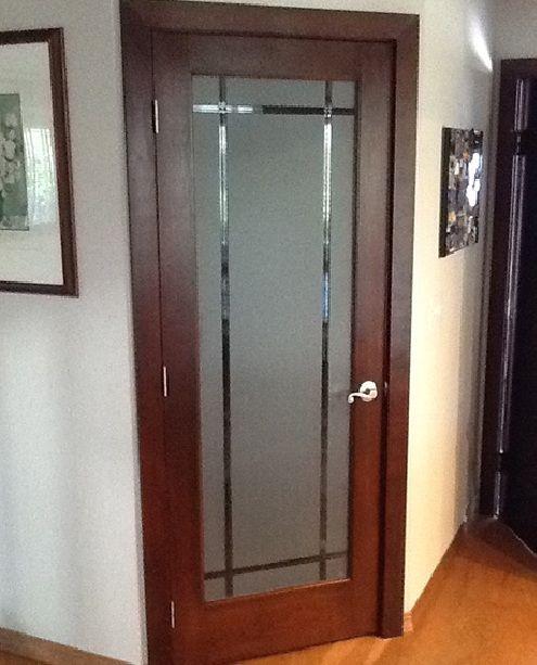Frosted Glass Bedroom Door With Wooden Door Frame