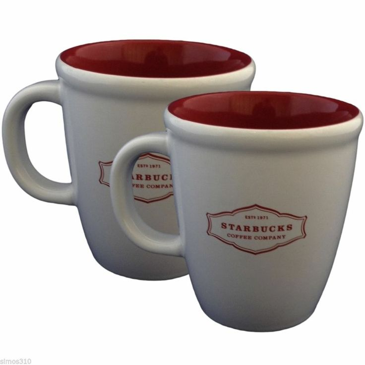 2006 Starbucks Abbey Coffee Mugs White and Red - Two 13 oz Cups