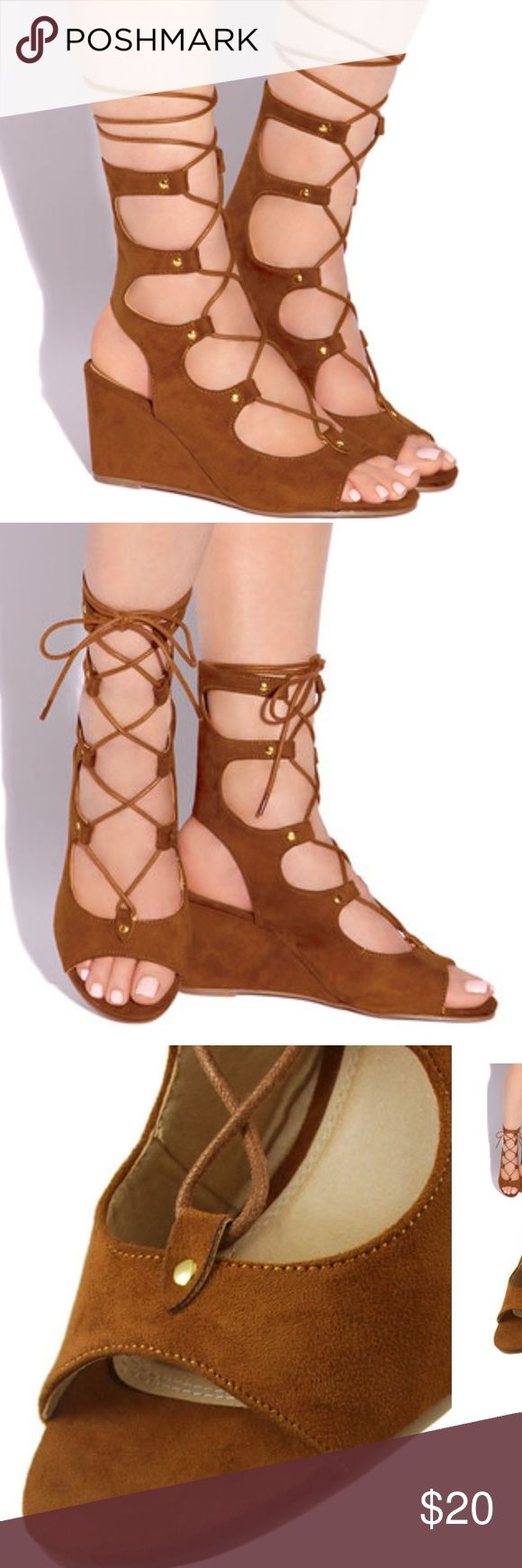 Lola Shoetique lace up wedge sandal Lola Shoetique Sweetest Kiss wedge sandal in cognac. These lace up shoes which can be tied up towards your leg. I have never worn them. Lola Shoetique Shoes Wedges