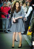 Платье плиссировка аппликации лён, кейт миддлтон принцесса женское элегантный ручной работы серый