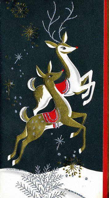 vintage Christmas card Reindeers