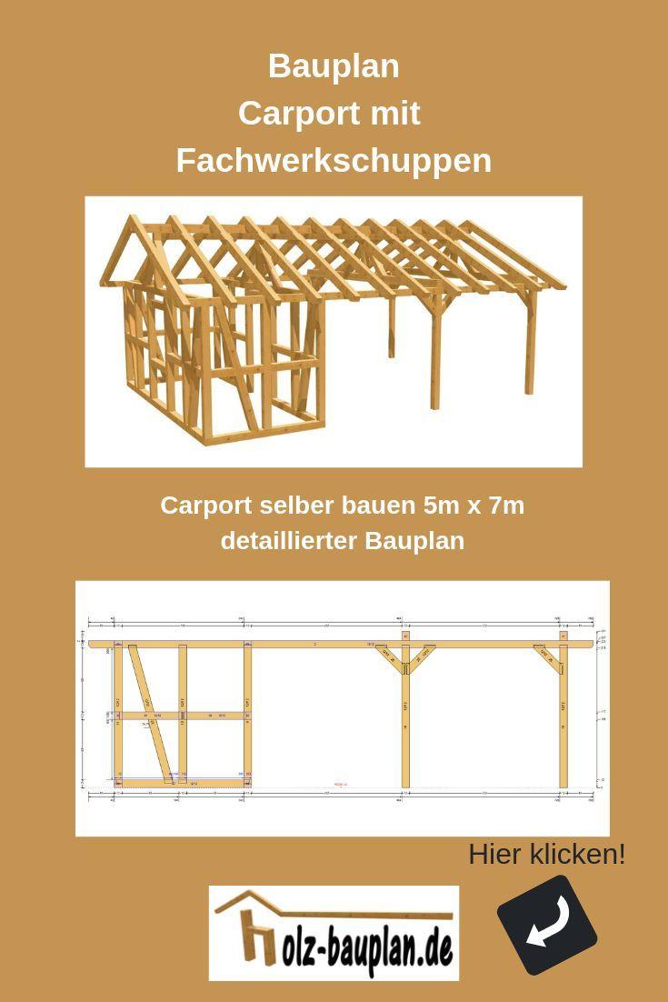 Detaillierter Bauplan Als Pdf Carport Zeichnung Technische Zeichnung Carport Carport Online Planen Carport Selber Bauen Carport Mit Schuppen Carport