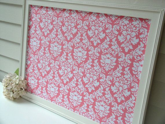 Damask Message Board with Handmade Wood Frame