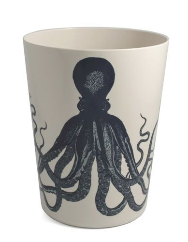 Our Octopus Scrimshaw Waste basket is designed by artist Thomas Paul and is the perfect accent for your coastal-tropical decor.