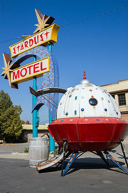 Stardust Motel Space Age Neon Sign and Flying Saucer, Wallace, Idaho